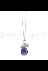 Stones & Silver Rhod Amethyst Necklace 70cm