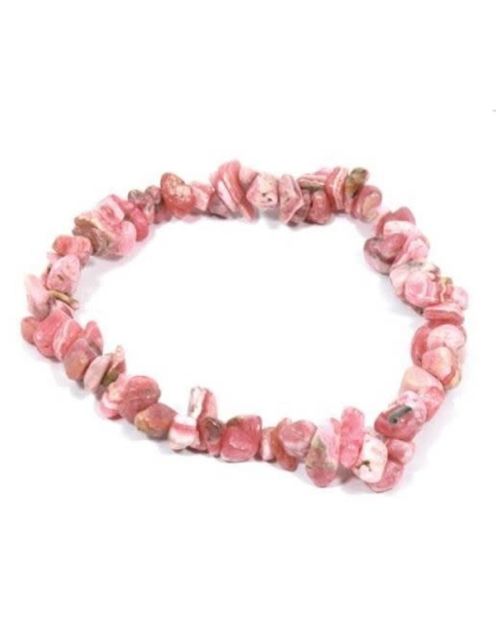 Silverstone Crystal Chip Bracelet - Rhodochrosite