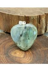 Silverstone Carved Crystal Pendant Heart - Labradorite