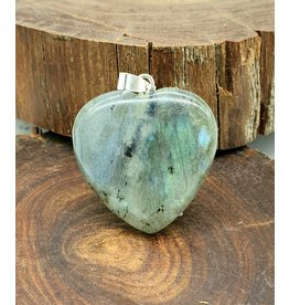 Silverstone Carved Crystal Pendant Heart - Labradorite