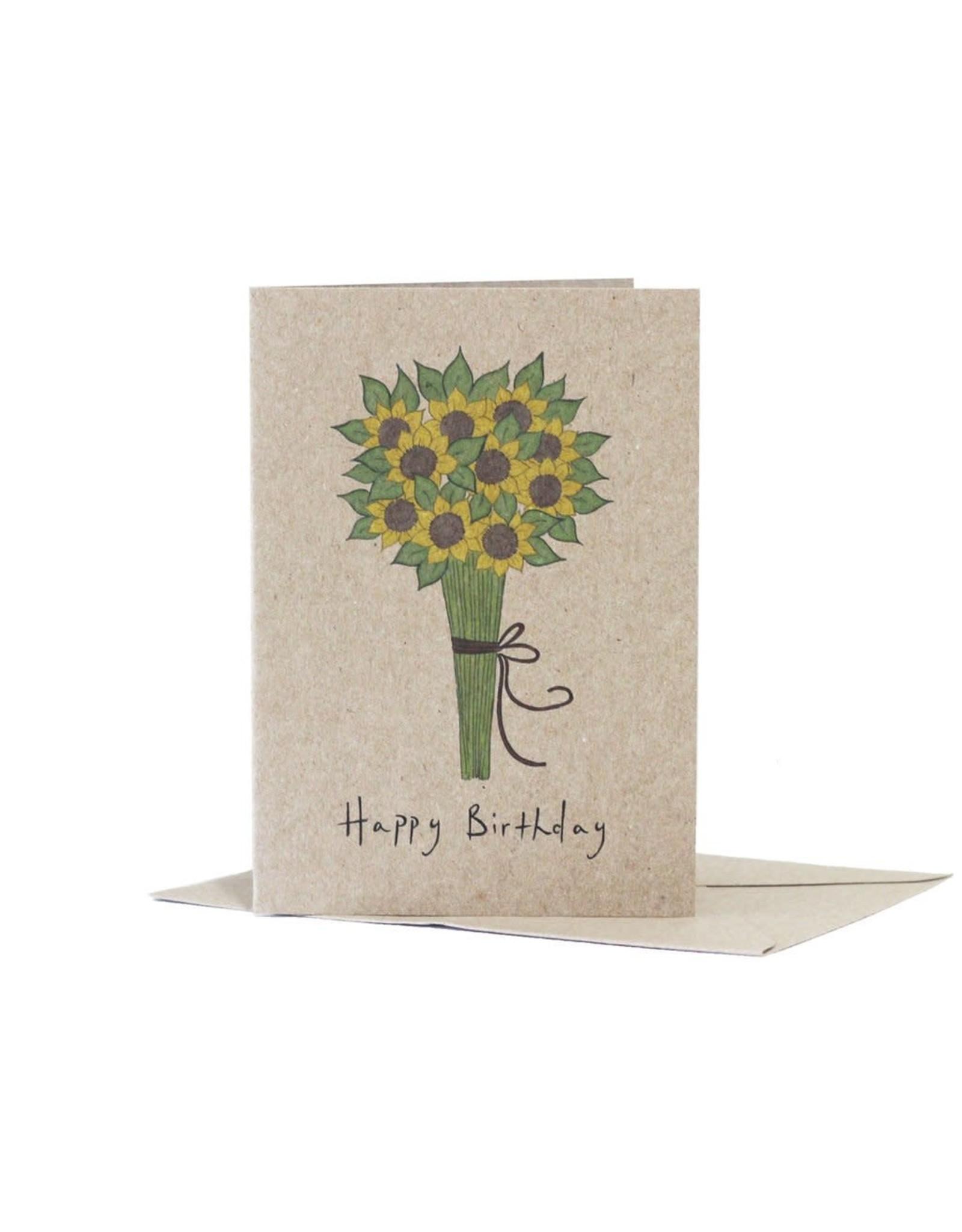 Deer Daisy Sunflower Greeting Card