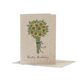 Deer Daisy Sunflower Greeting Card