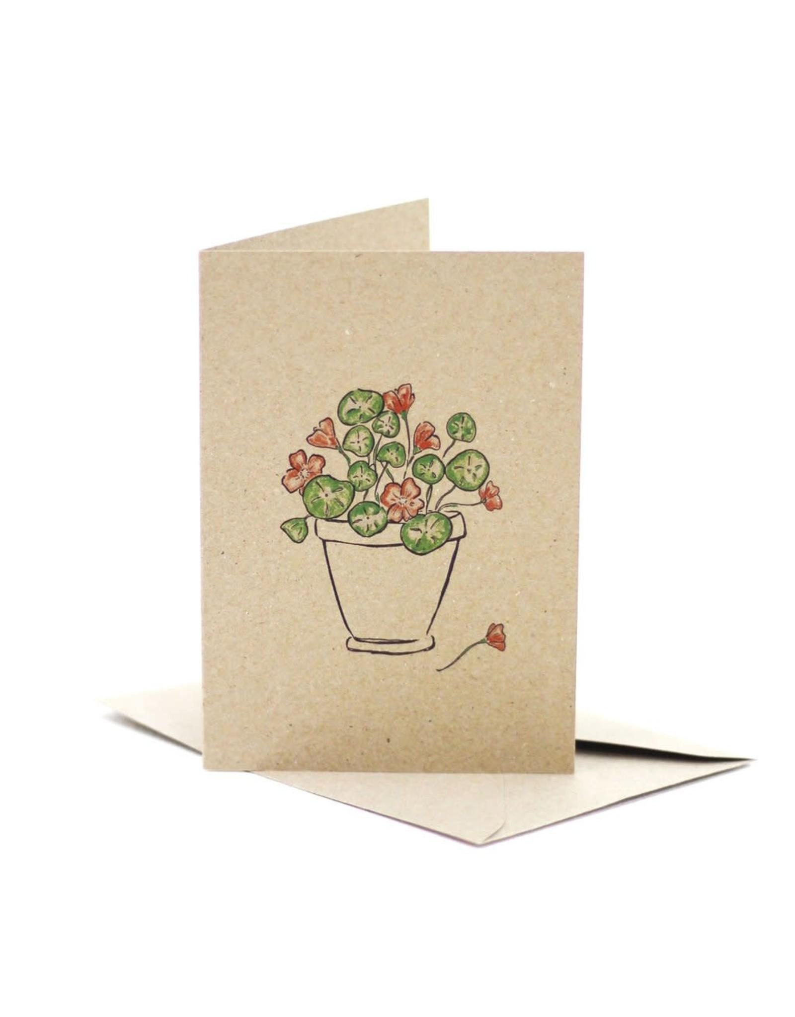 Deer Daisy Nasturtium Love Greeting Card