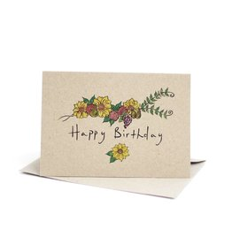 Deer Daisy Happy Birthday Greeting Card
