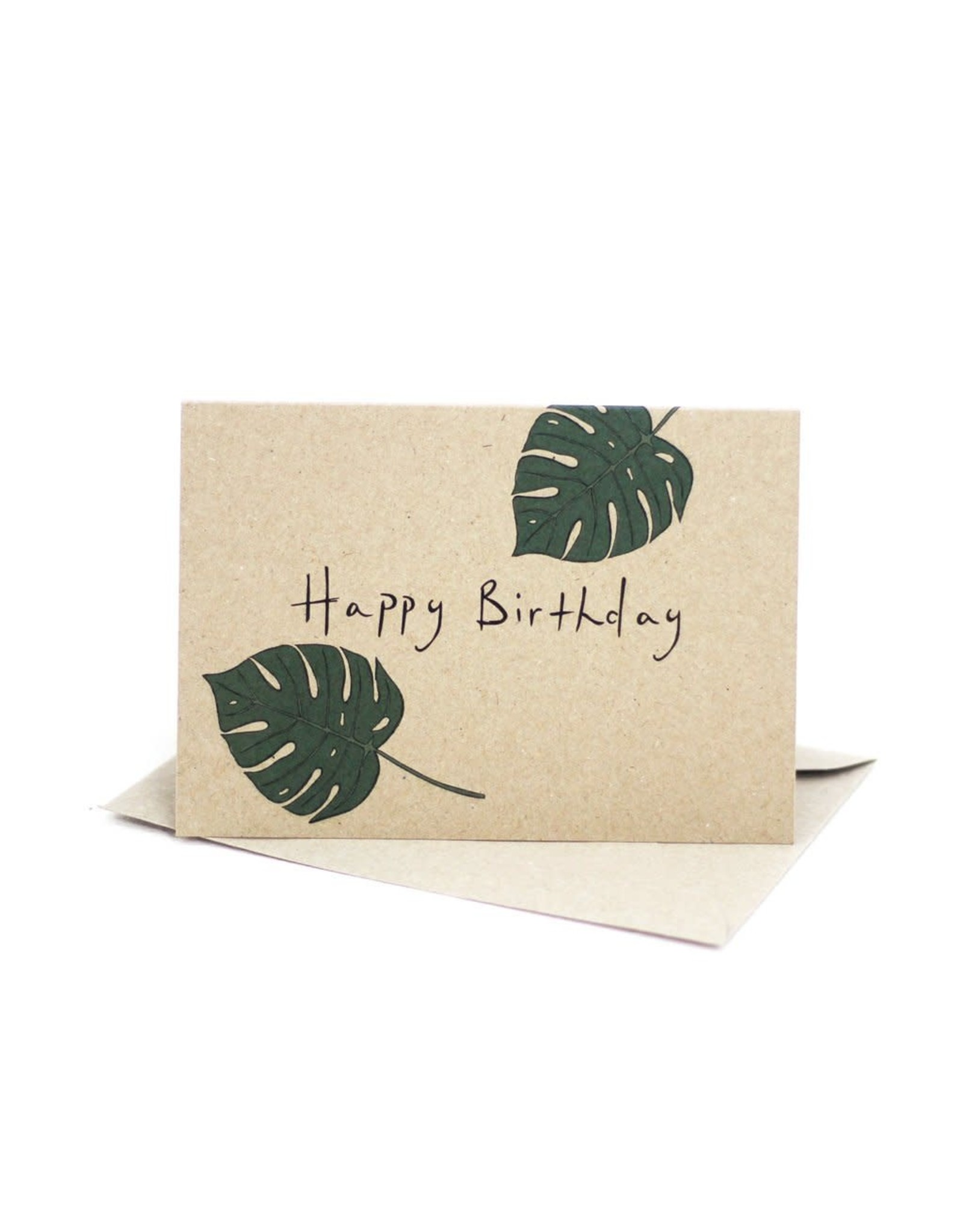 Deer Daisy Monstera Happy Birthday Greeting Card