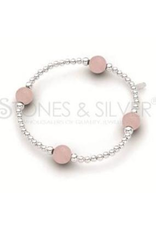 Stones & Silver Elastic Ball Bracelet with Rose Quartz