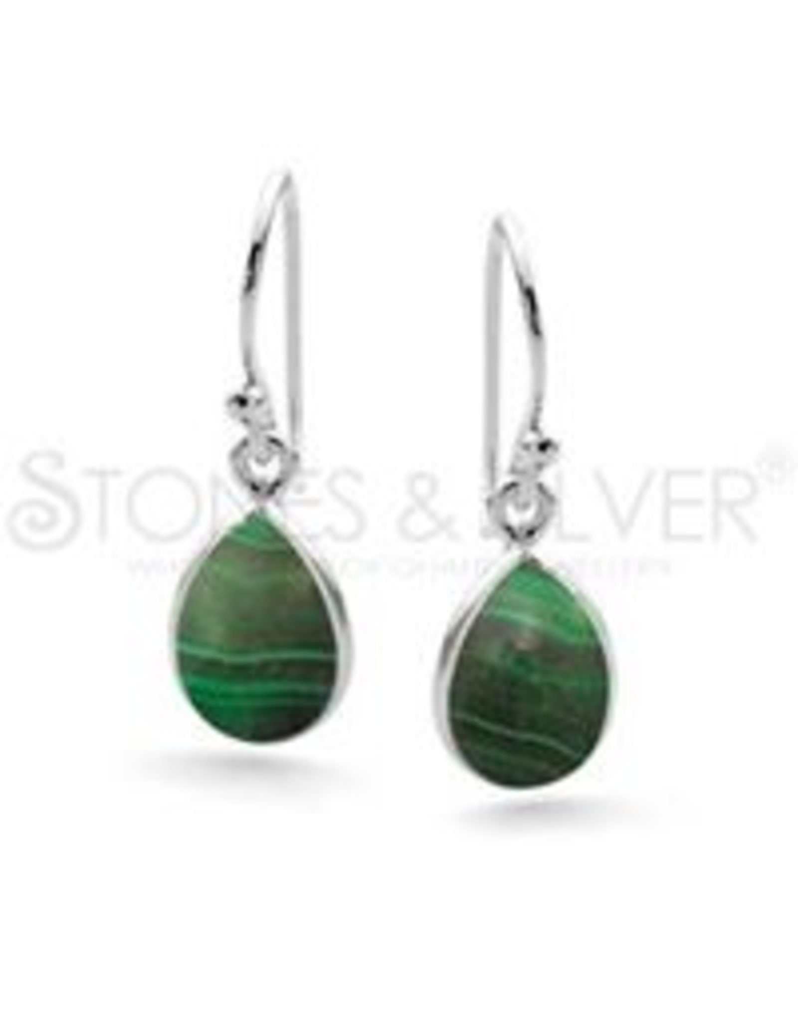 Stones & Silver Malachite Crystal Earrings