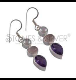 Stones & Silver Amethyst, Rose Quartz & Pearl Earrings