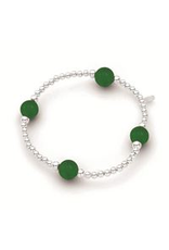 Stones & Silver Elastic Ball Bracelet with Jade