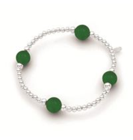 Stones & Silver Elastic Ball Bracelet with Jade