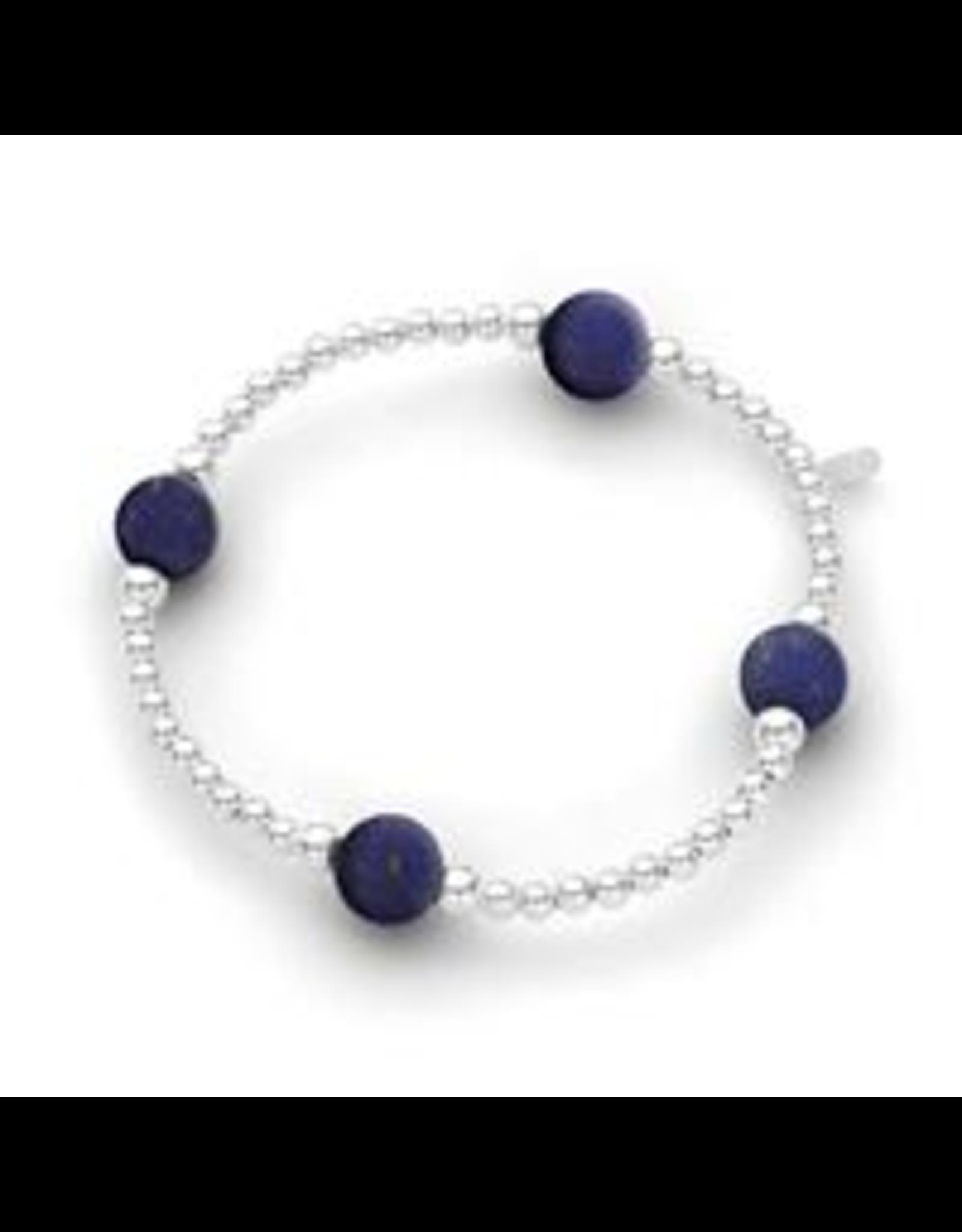 Stones & Silver Elastic Ball Bracelet with Lapis Lazuli