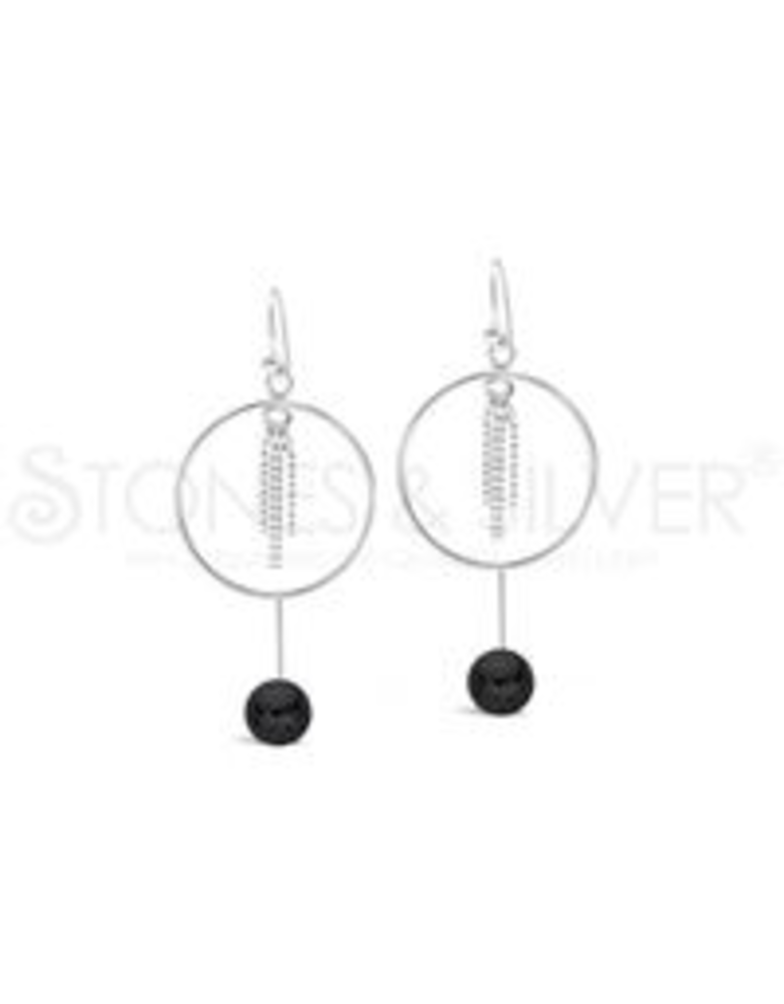 Stones & Silver Onyx Hoop Earrings