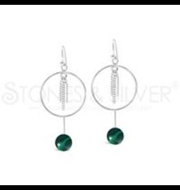 Stones & Silver Malachite Hoop Earrings
