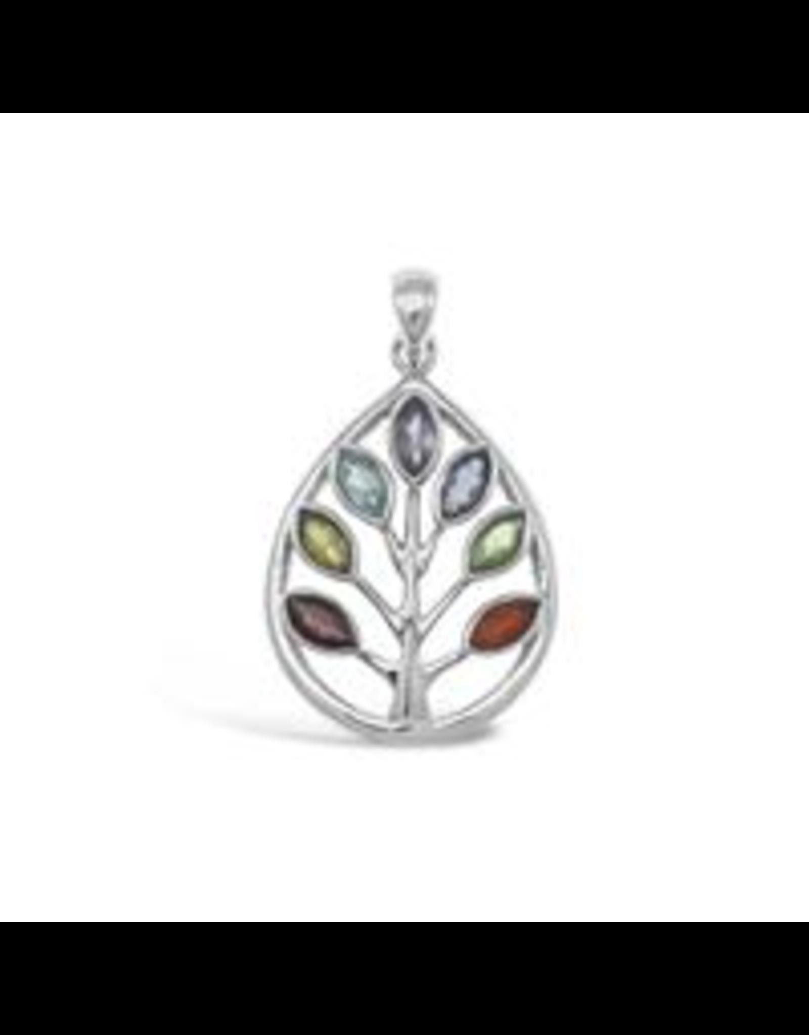 Stones & Silver Chakra Tree of Life Pendant 4cm