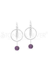 Stones & Silver Amethyst Hoop Earrings