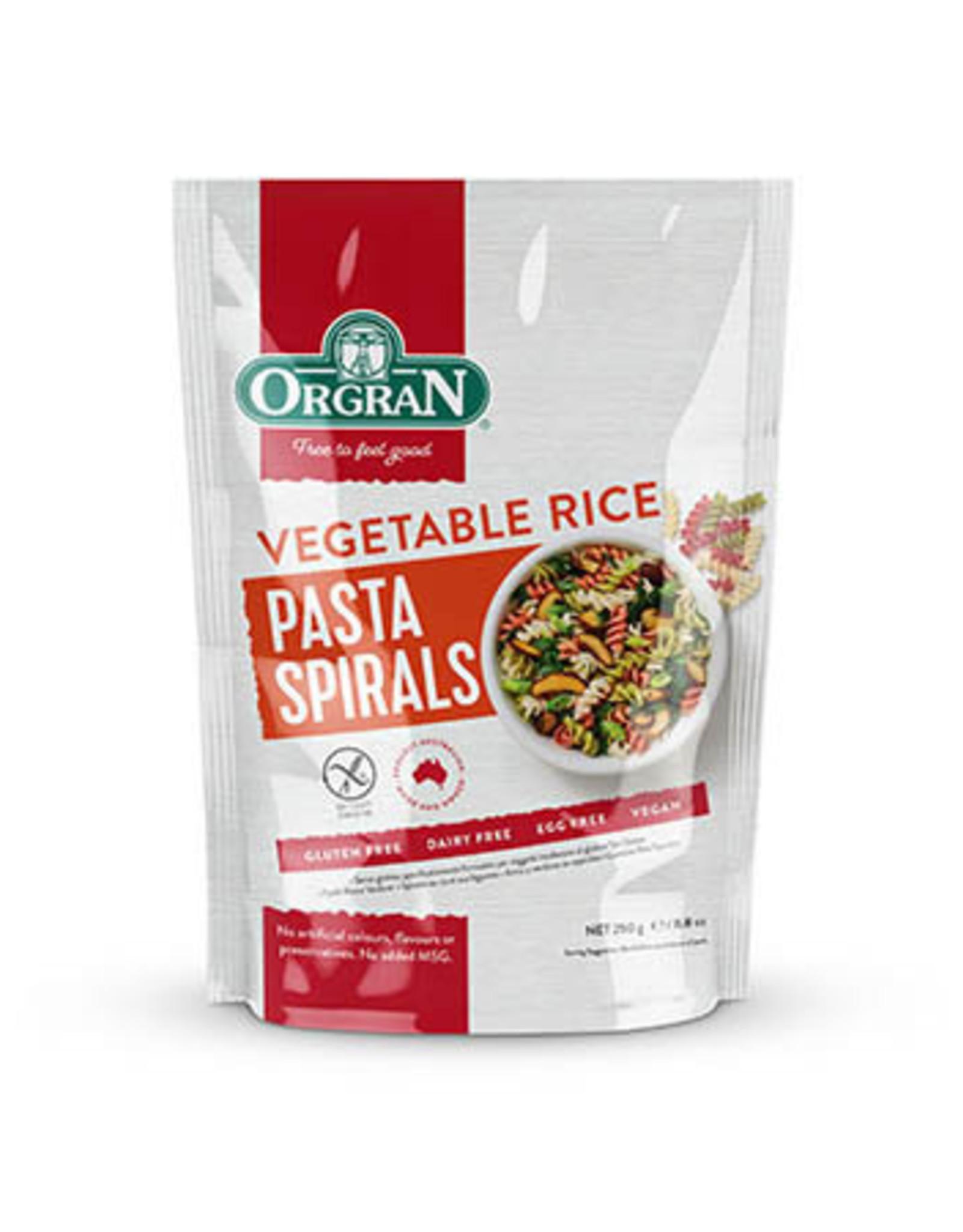 Orgran Gluten Free Spiral Rice & Vegetable Pasta 250g