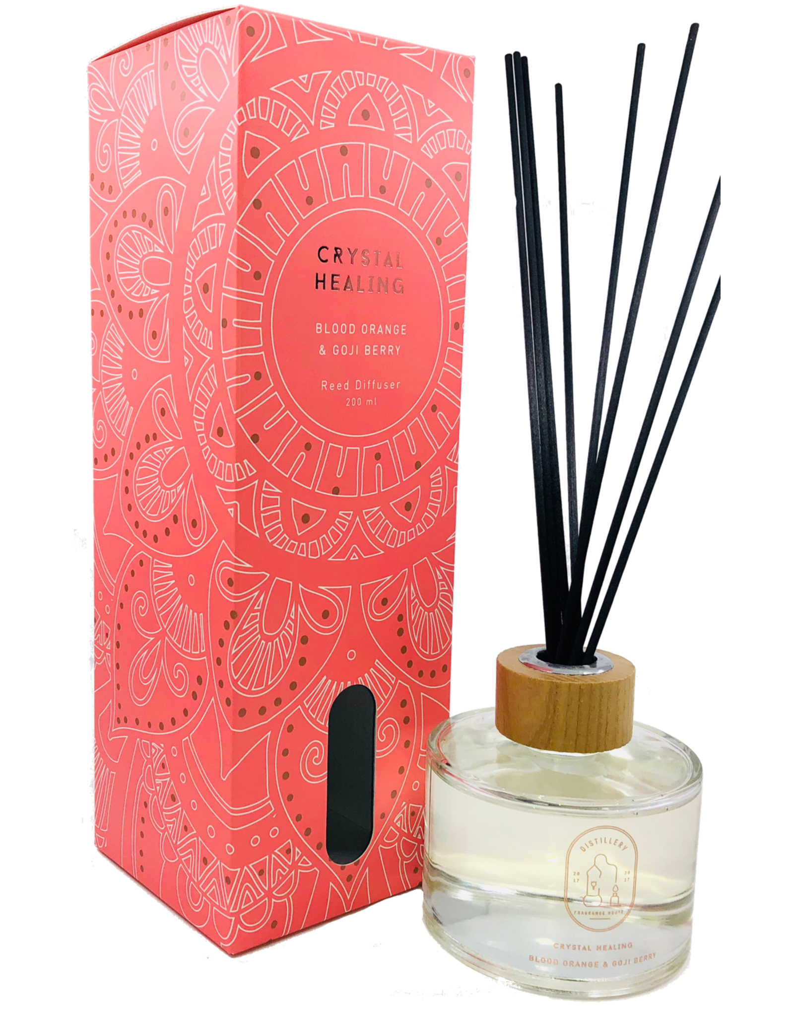 Distillery Fragrance House Reed Diffuser Crystal Healing Blood Orange & Goji Berry 200ml
