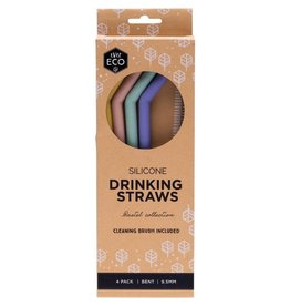 Ever Eco Silicone Drinking Straws Bent 4 pack