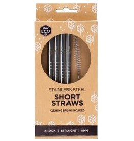 Ever Eco Stainless Steel Drinking Straws Short 4 Pack