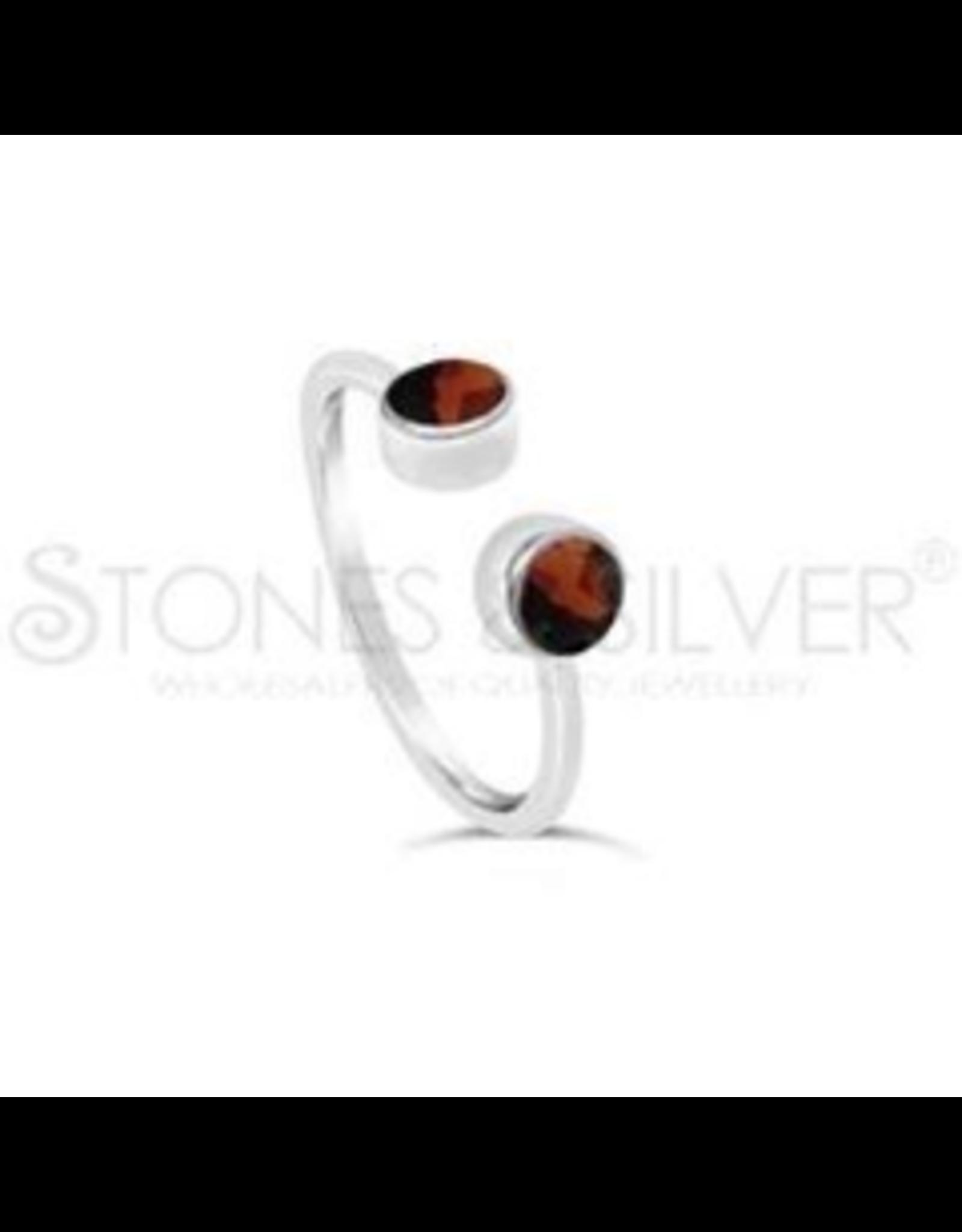 Stones & Silver Garnet Cuff Ring