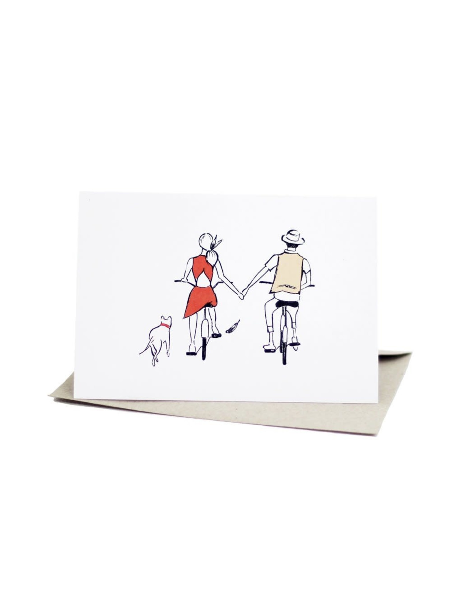 Deer Daisy Riding Bicycles Greeting Card