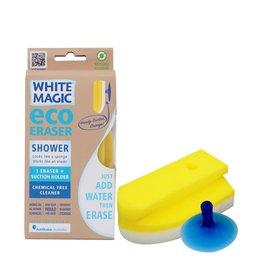 White Magic Eraser Sponge Shower w/Suction