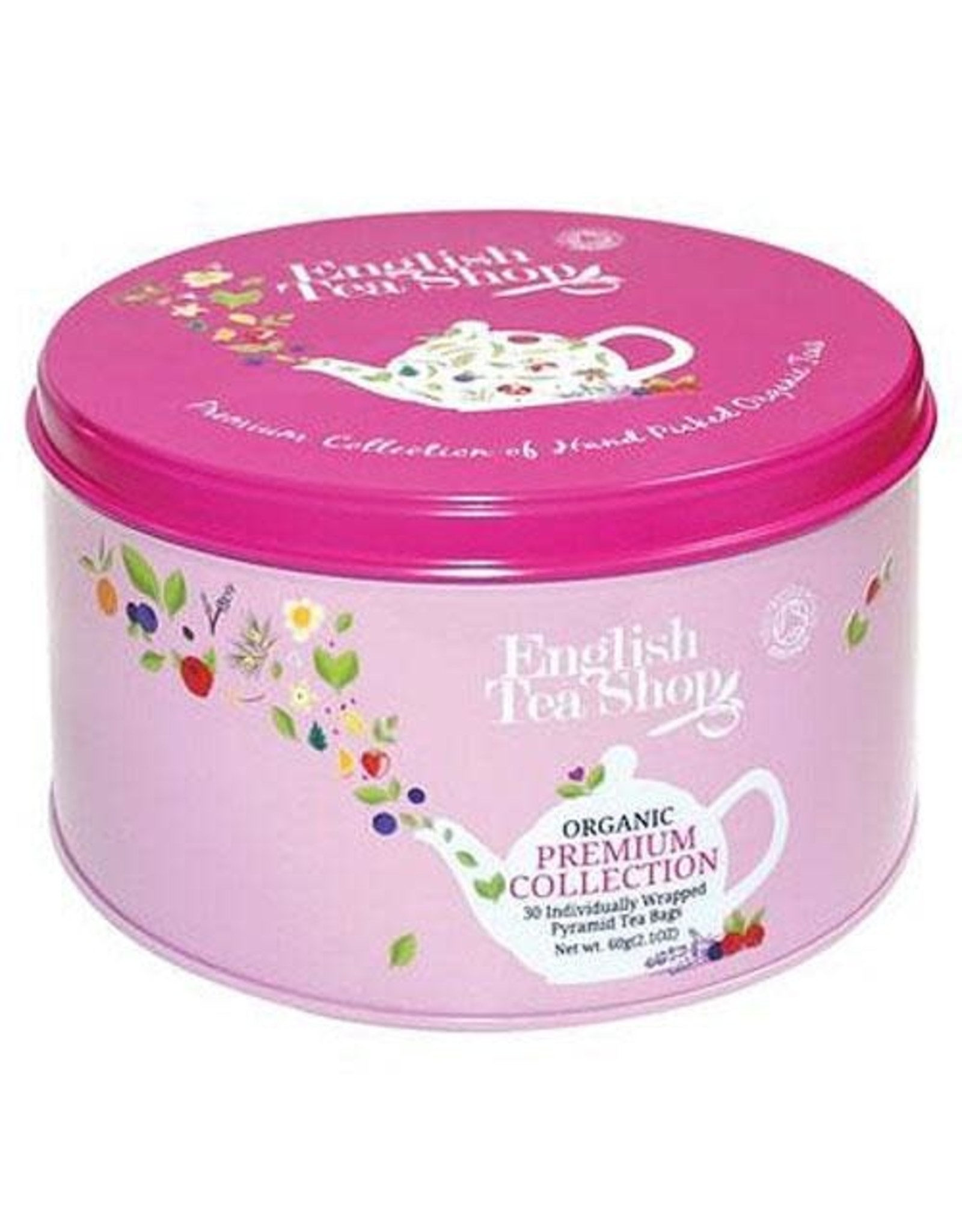 English Tea Shop Organic Round Gift Tin Nylon Pyramind 30 bags