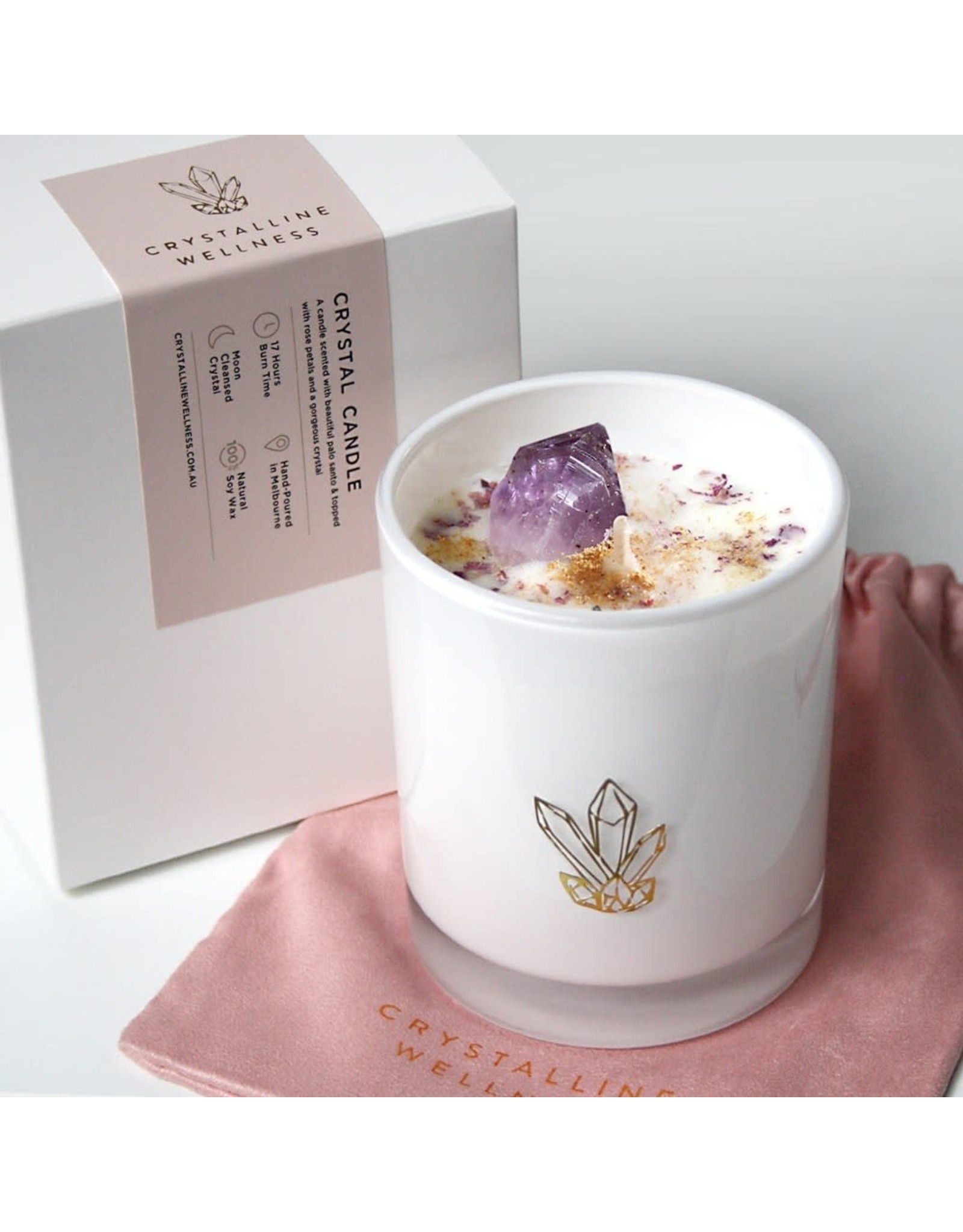 Crystalline Wellness Large Glass Soy Candle - Amethyst