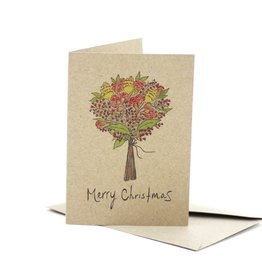 Deer Daisy Christmas Bouquet Greeting Card