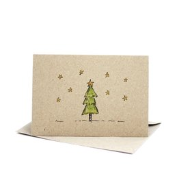 Deer Daisy Christmas Tree Greeting Card