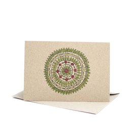 Deer Daisy Christmas Mandala Greeting Card