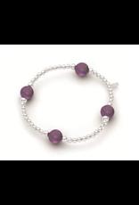 Stones & Silver Elastic Ball Bracelet with Amethyst