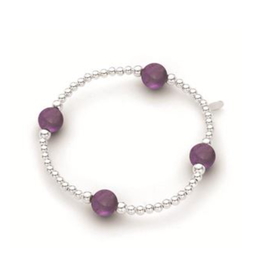 Stones & Silver Elastic Ball Bracelet with Amethyst