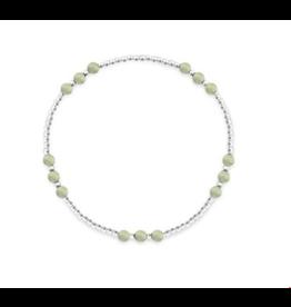 Stones & Silver Elastic Ball Bracelet with Jade 2mm