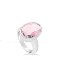 Stones & Silver Rose Quartz Ring 10mmx14mm