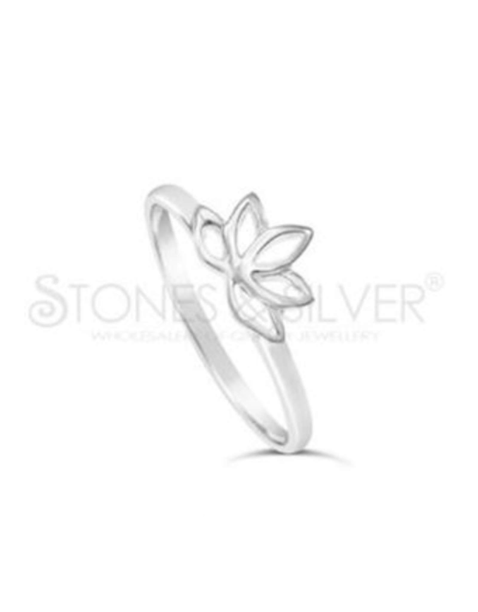 Stones & Silver Lotus Flower Ring