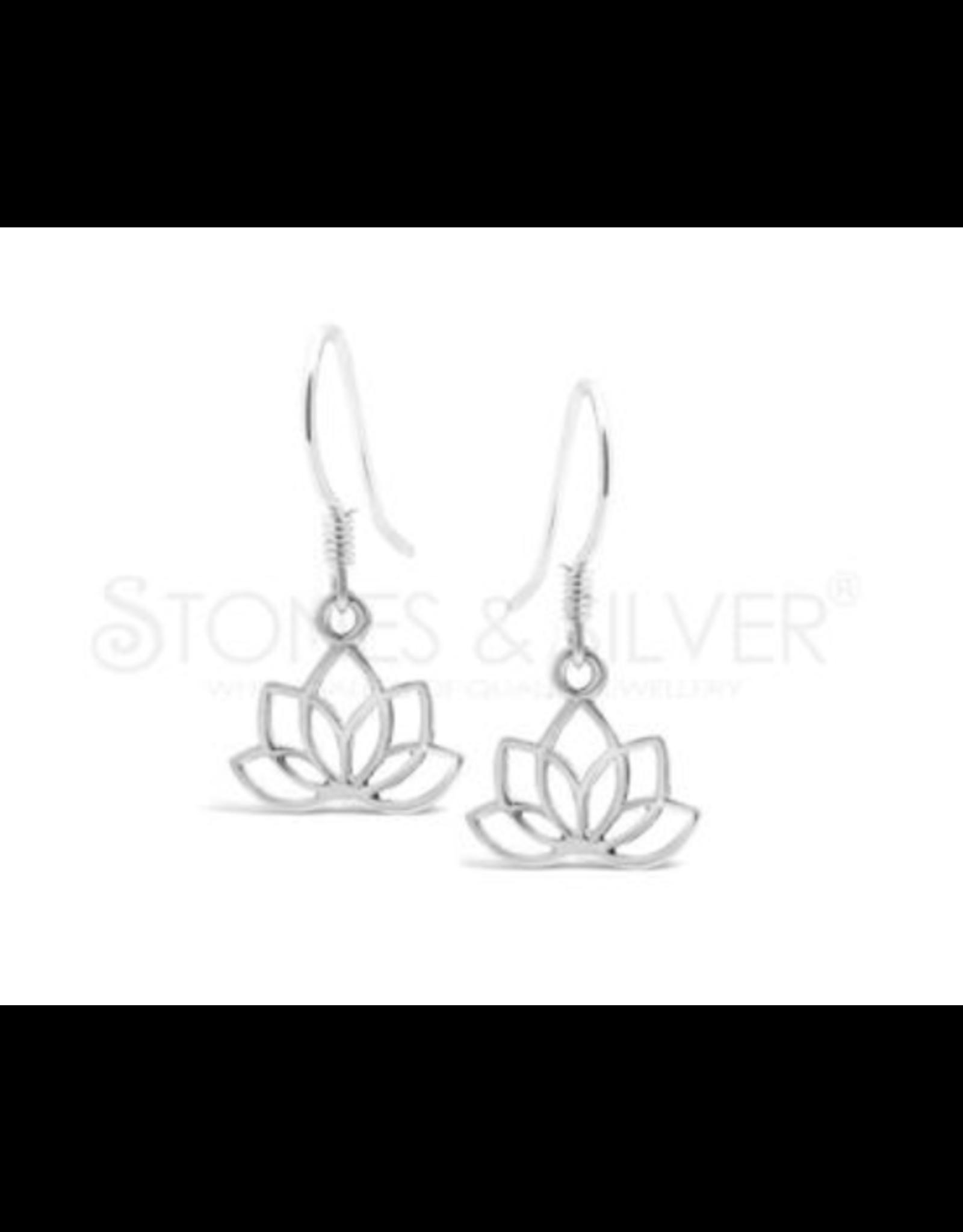 Stones & Silver Lotus Leaf Earrings 15mm