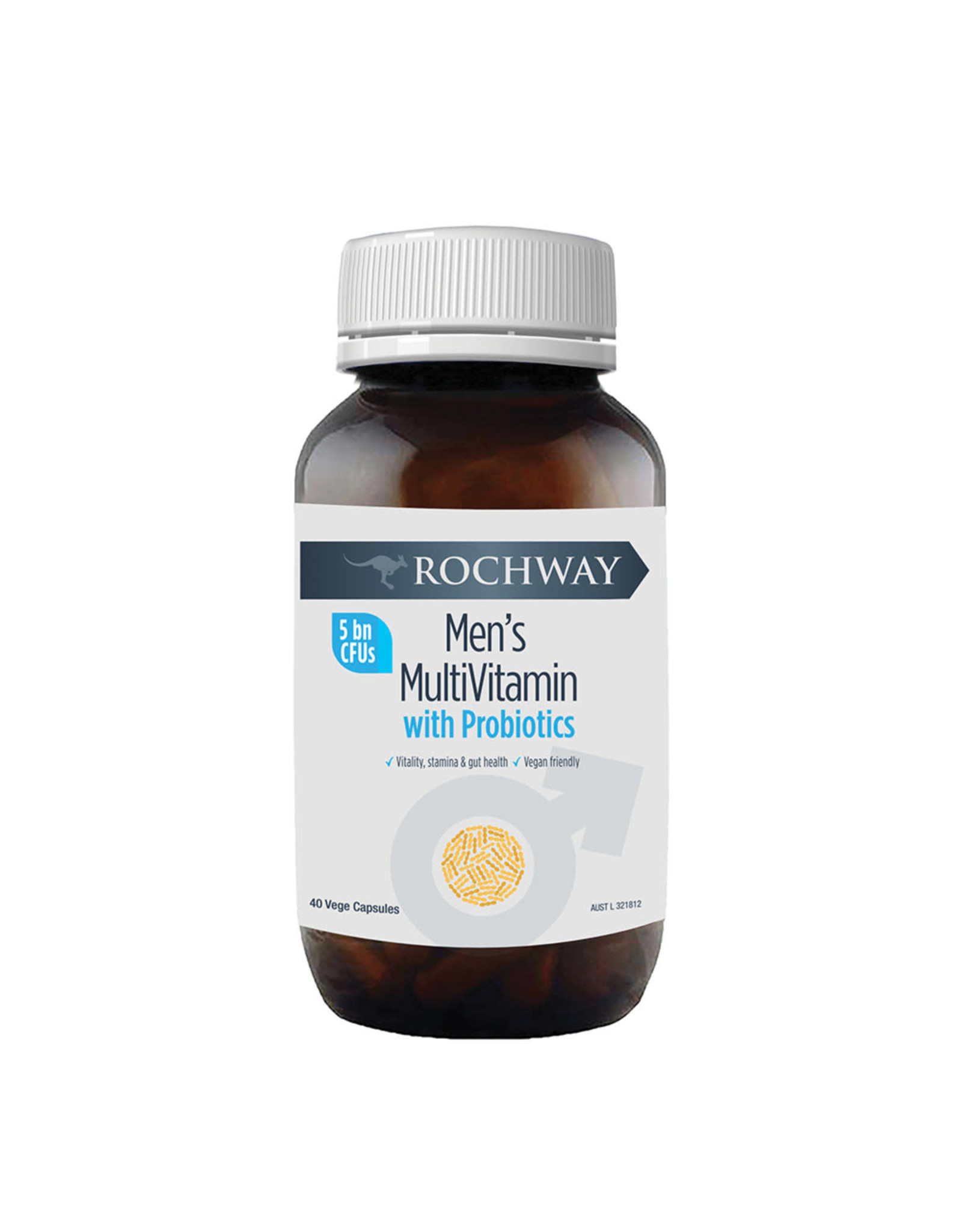 Rochway Men's Multivitamin with Probiotics (5 Billion CFU) 40vc
