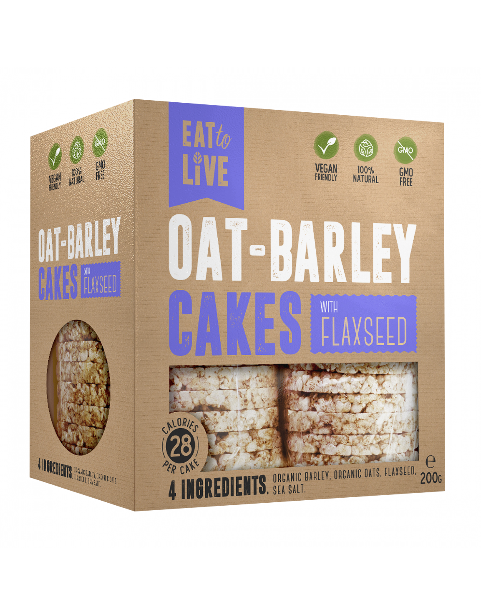 Eat to Live Oat Barley Cakes with Flaxseed 200g
