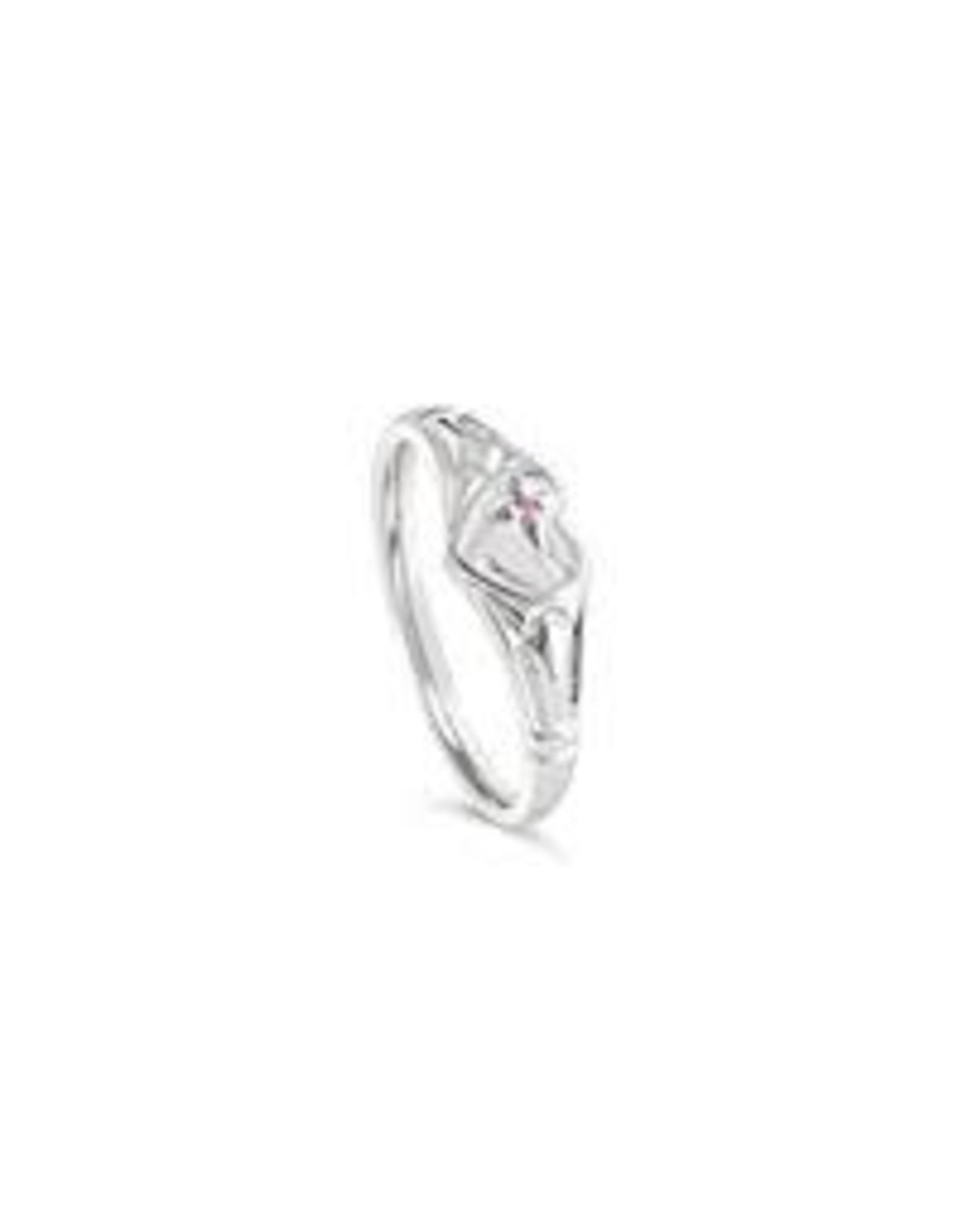Stones & Silver Single Heart Signet with Pink Cubic Zirconia
