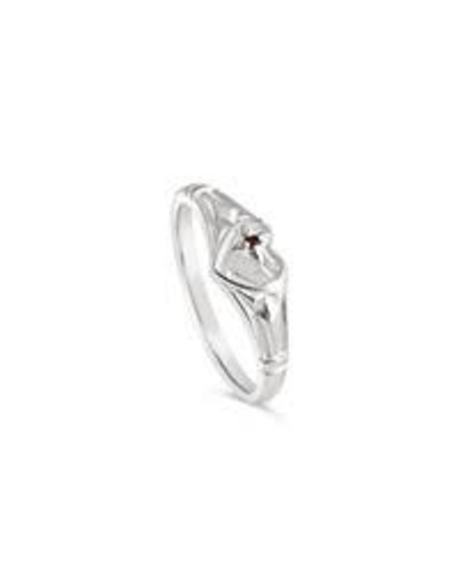 Stones & Silver Single Heart Signet with Ruby