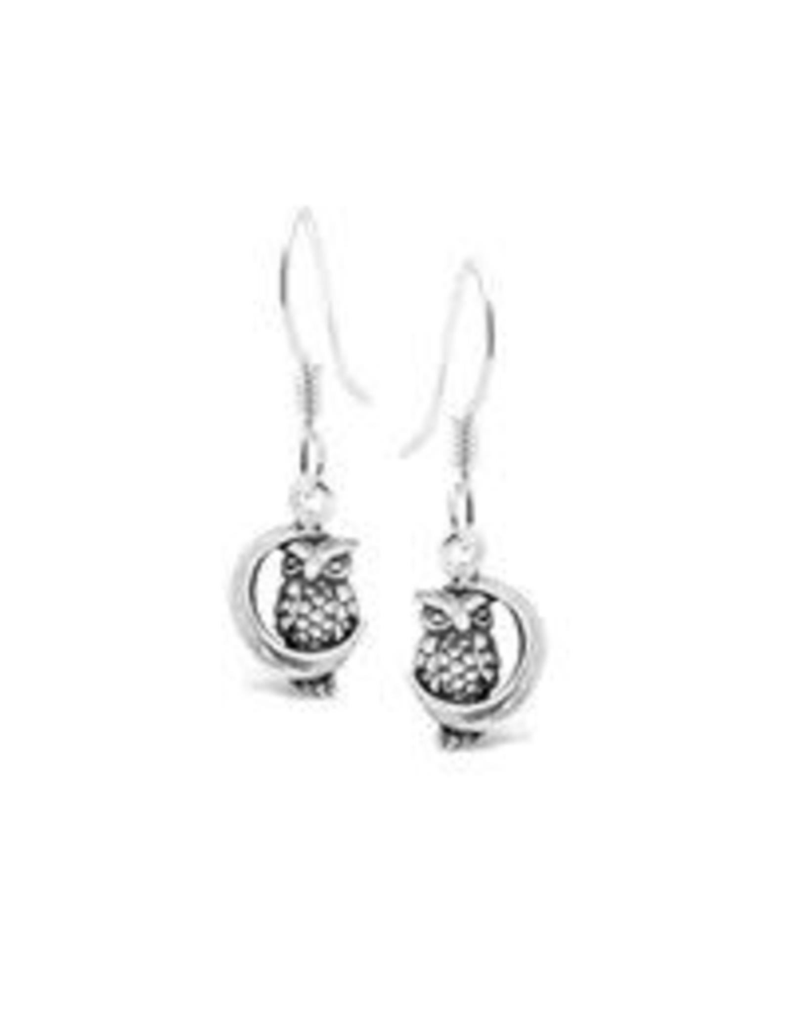 Stones & Silver Owl & Moon Earrings