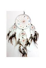 Dream Catcher Leather Crystals White Medium