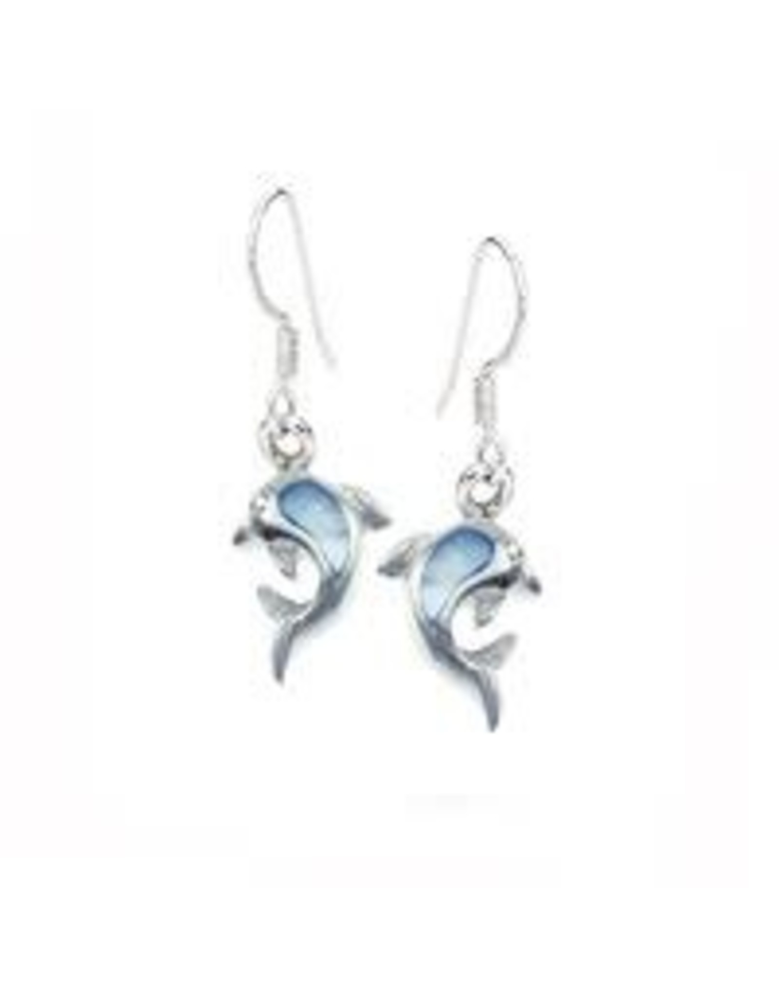 Stones & Silver Blue Mother of Pearl Dolphin Drop Earrings 2.5cm