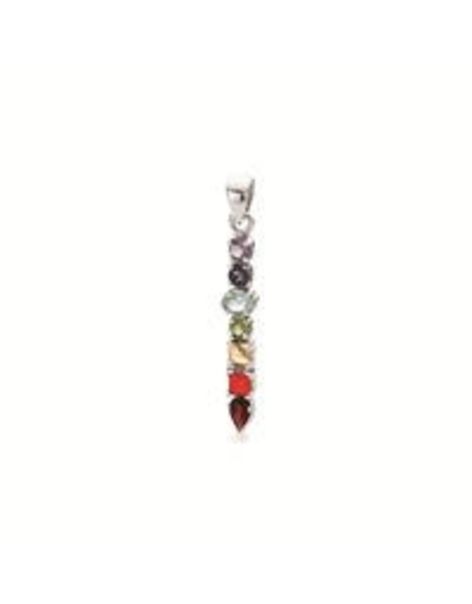Stones & Silver Chakra Pendant 4.3cm (S/S)