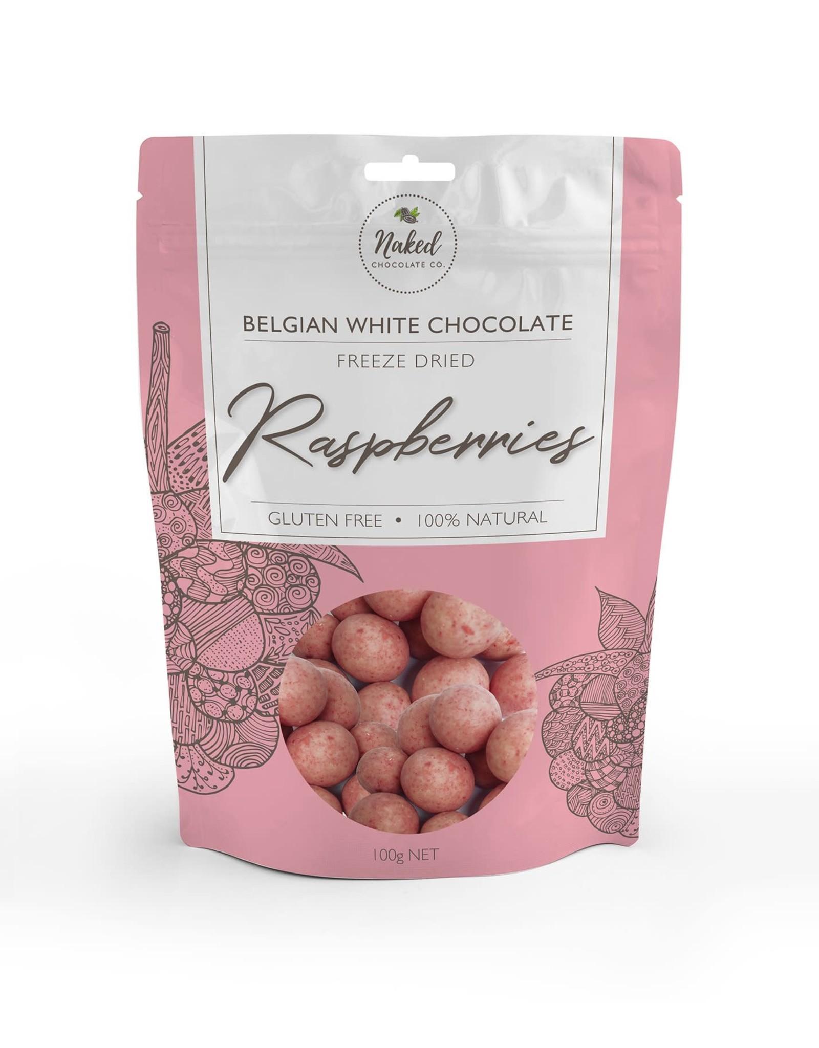 Naked Chocolate Co Freeze Dried Raspberries White Chocolate 125g