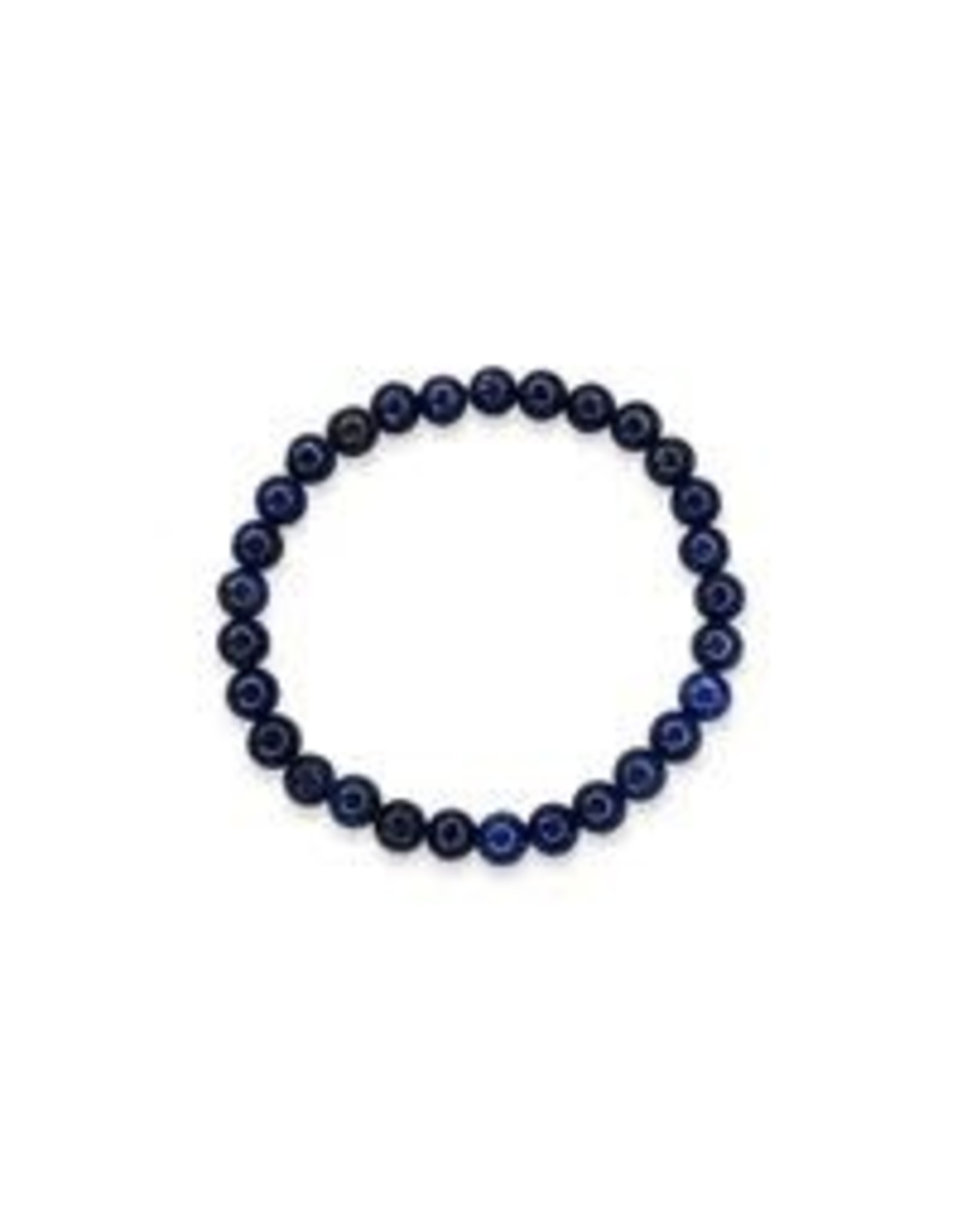 Stones & Silver Lapis Lazuli Gemstone Elastic Ball Bracelet