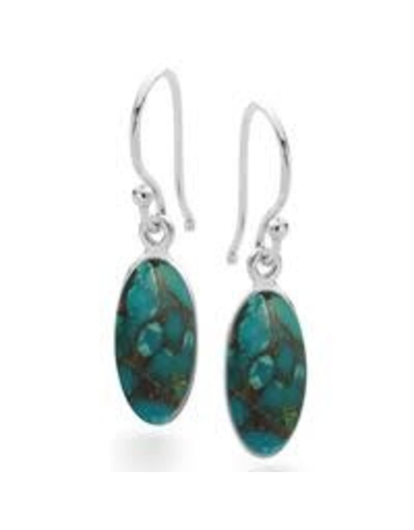 Stones & Silver Blue Mohave Turquoise Stone Earrings