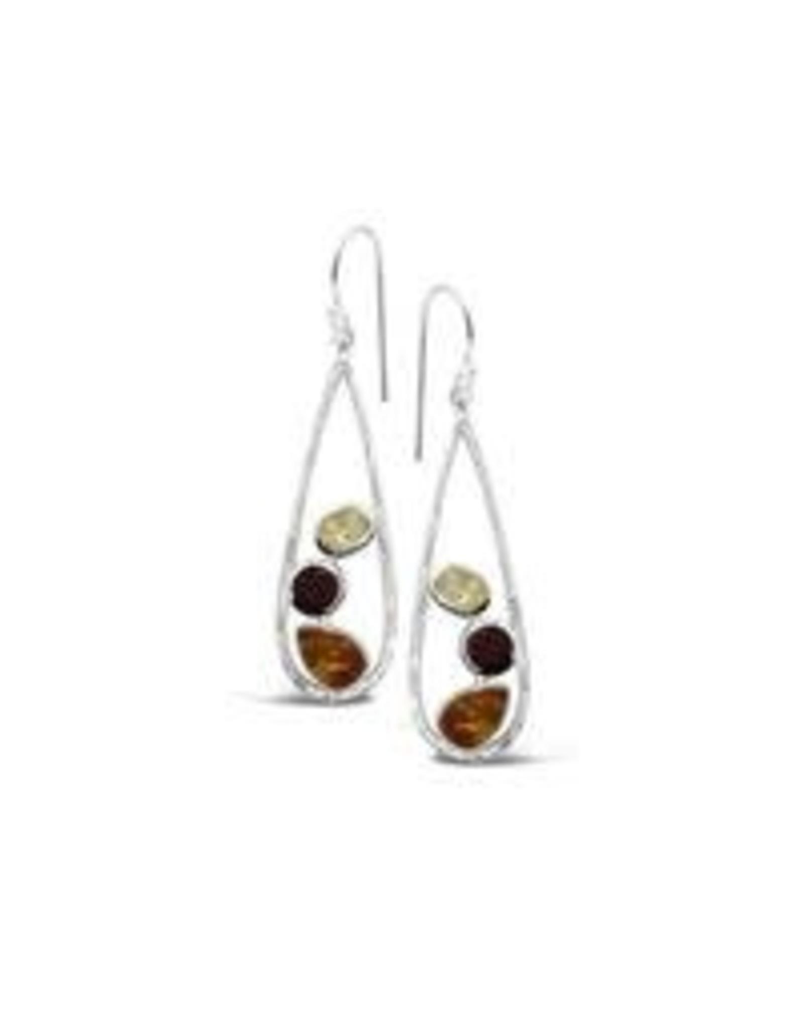 Stones & Silver Amber Garnet Citrine Earrings