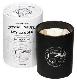 Summer Salt Body Crystal Soy Candle Clear Quartz Coconut & Lime